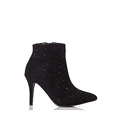 Quiz - Black faux suede stiletto ankle boots