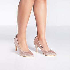Quiz - Blush satin diamante court heels shoes