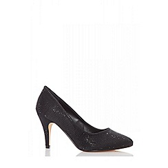 Quiz - Black satin diamante court shoes