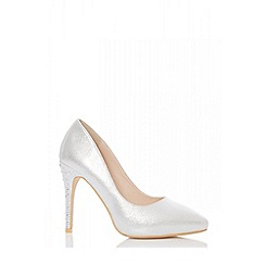 Quiz - Silver shimmer diamante pointed court heels shoes