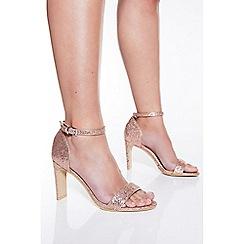 Quiz - Rose gold shimmer heeled sandals