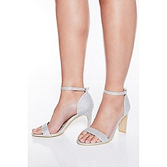 Quiz - Silver shimmer heeled sandals