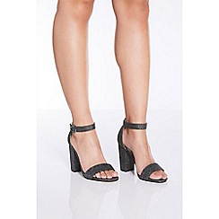 Quiz - Pewter glitter block heel sandals