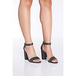 Quiz - Pewter glitter block heel sandals