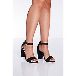 Quiz - Black glitter block heel sandals