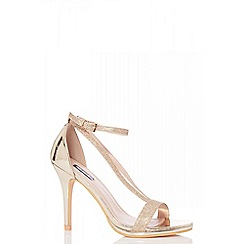 Quiz - Gold glitter strap heel sandals