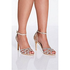 Quiz - Gold shimmer diamante detail heel sandals