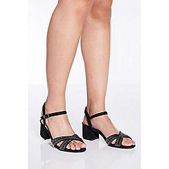 Quiz - Black shimmer cross strap sandals