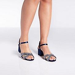 Quiz - Navy satin diamante mid heels sandals