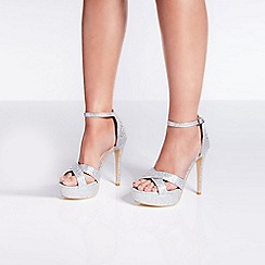 Quiz - Silver shimmer cross front heels sandals
