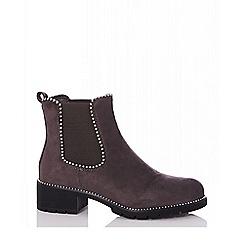 Quiz - Purple faux suede Chelsea ankle boots