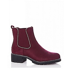 Quiz - Burgundy studded Chelsea ankle boots