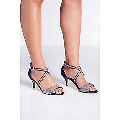 Quiz - Wide fit navy satin low heel sandals