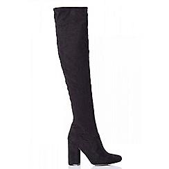 Quiz - Towie black over the knee block heel boots