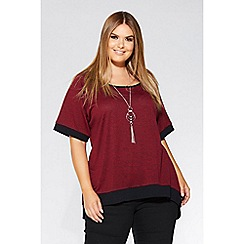 Quiz - Curve berry and black knit contrast necklace top