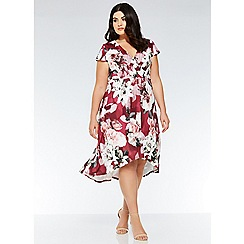 Quiz - Curve berry, grey and pink floral wrap dress