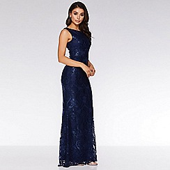 Quiz - Navy Sequin Sleeveless Maxi Dress