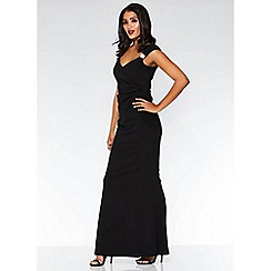 Quiz - Black Brooch Wrap Maxi Dress