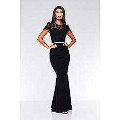 Quiz - Black lace embellished fishtail maxi dress