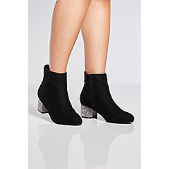 Quiz - Black diamante heel ankle boots