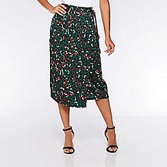 Quiz - Towie green and orange satin leopard print wrap skirt