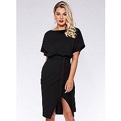 Quiz - Black batwing belted dress