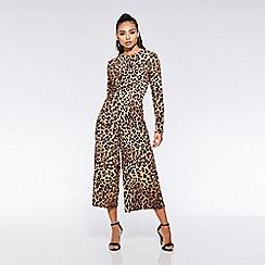 Quiz - TOWIE leopard print knot front jumpsuit
