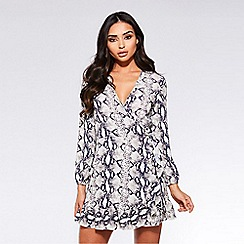 Quiz - Towie cream and black snake print wrap dress