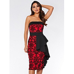 Quiz - Red flock bardot ruffle front midi dress