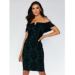 Quiz - Bottle green flock bardot dress