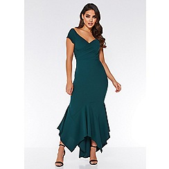 Quiz - Bottle green bardot maxi dress