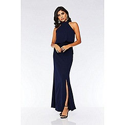 Quiz - Navy layered split front maxi dress