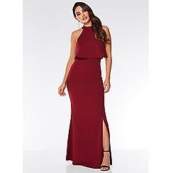 Quiz - Berry layered split front maxi dress