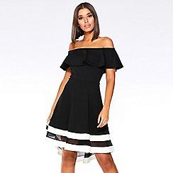 Quiz - Black and cream bardot dip hem dress