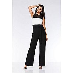Quiz - Black and cream contrast palazzo jumpsuit
