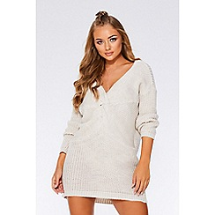 Quiz - Cream knot front jumper dress