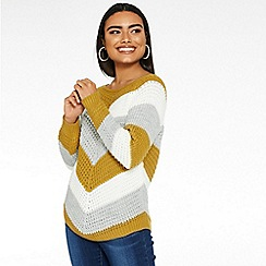 Quiz - Mustard cream and grey strip jumper