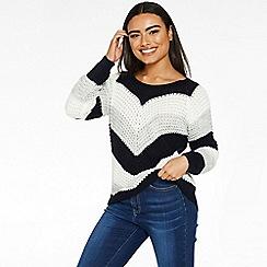 Quiz - Navy cream and grey stripe jumper