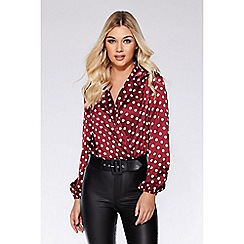 Quiz - Berry and cream satin polka dot bodysuit