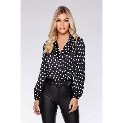 f3052851e6 Quiz - Black and cream satin polka dot bodysuit