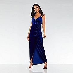 Quiz - Towie royal blue velvet wrap dress