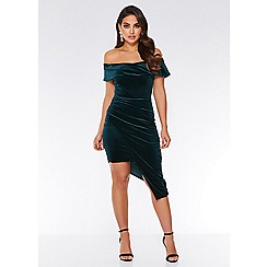 Quiz - Bottle green velvet wrap asymmetrical bodycon dress
