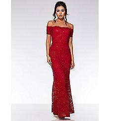 Quiz - Berry sequin lace bardot maxi dress