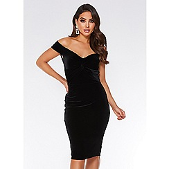 Quiz - Black velvet knot front bardot midi dress