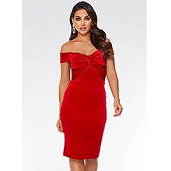 Quiz - Red velvet knot front bardot dress