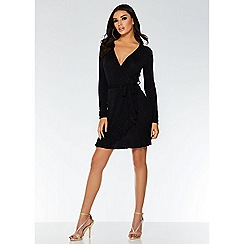 Quiz - Black glitter wrap frill dress