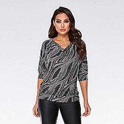 Quiz - Silver glitter cowl neck batwing top