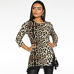 Quiz - Black and brown leopard print top