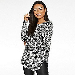 Quiz - Grey and black leopard print long sleeve jumper