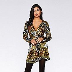 Quiz - Gold scarf print long sleeve bodycon dress